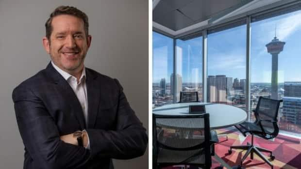 CEO Mike Owens, pictured next to Absorb's head office in downtown Calgary. (Submitted by Absorb - image credit)