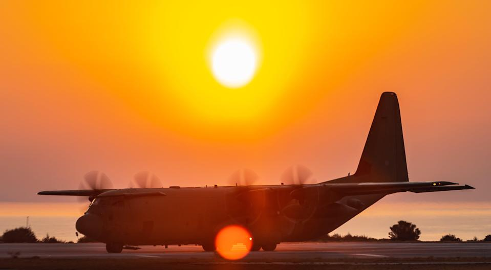 A Royal Air Force C-130J Hercules aircraft supporting the British Army�s 16 Air Assault Brigade on exercise in the Middle East. (� UK MoD Crown Copyright 2021)