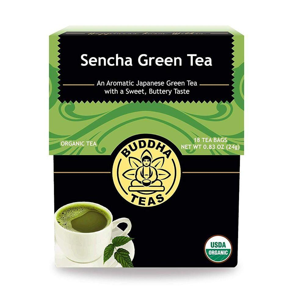 """<p><strong>Buddha Teas</strong></p><p>amazon.com</p><p><strong>$10.84</strong></p><p><a href=""""https://www.amazon.com/dp/B00QMPLJAW?tag=syn-yahoo-20&ascsubtag=%5Bartid%7C2089.g.2205%5Bsrc%7Cyahoo-us"""" rel=""""nofollow noopener"""" target=""""_blank"""" data-ylk=""""slk:Shop Now"""" class=""""link rapid-noclick-resp"""">Shop Now</a></p><p>There are plenty of reasons to love Buddha Teas — from their sustainable sourcing practices to their bleach-free tea bags. We particularly love this green tea for its super smooth taste.</p><p>Medium-bodied with grassy notes and a fresh aroma, this green tea is delicious sipped first thing in the morning, or as an afternoon pick-me-up. </p><p><strong>More:</strong> <a href=""""https://www.bestproducts.com/eats/drinks/g1858/matcha-green-tea/"""" rel=""""nofollow noopener"""" target=""""_blank"""" data-ylk=""""slk:Make Your Own Matcha Lattes With These Matcha Teas"""" class=""""link rapid-noclick-resp"""">Make Your Own Matcha Lattes With These Matcha Teas</a></p>"""