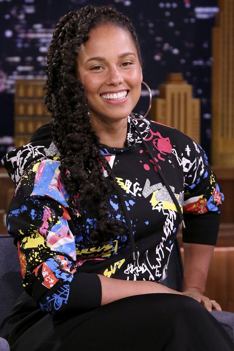 """<p><strong>Born</strong>: Alicia Augello-Cook </p><p>The singer/songwriter told <em><a href=""""http://www.foxnews.com/story/2007/11/11/alicia-keys-mom-helped-pick-stage-name.html"""" rel=""""nofollow noopener"""" target=""""_blank"""" data-ylk=""""slk:Newsweek"""" class=""""link rapid-noclick-resp"""">Newsweek</a></em> she wanted to to change her last name to be better suited for the stage, and was considering taking on the title """"Alicia Wild""""—but her mom said no. <strong>""""</strong>She said, 'It sounds like you're a stripper,""""' said Keys, so the singer considered a more musical moniker. """"It's like the piano keys. And it can open so many doors,"""" she explained.</p>"""