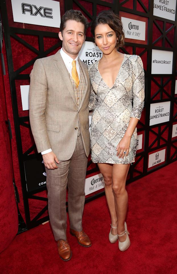 "Matthew Morrison and Renee Puente attend ""The Comedy Central Roast of James Franco"" at Culver Studios on August 25, 2013 in Culver City, California."