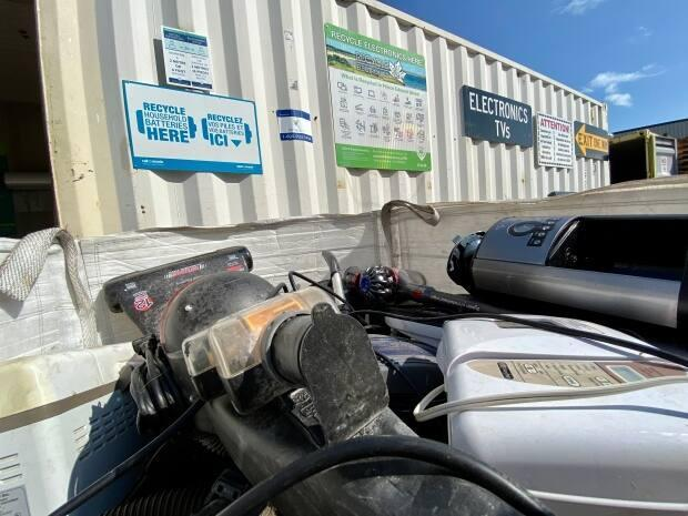 An electronics recycling drop-off site in P.E.I. The N.W.T. government has also committed to expanding its electronics recycling program so it can accept more items, like home appliances, in the next three years. (Jane Robertson/CBC - image credit)