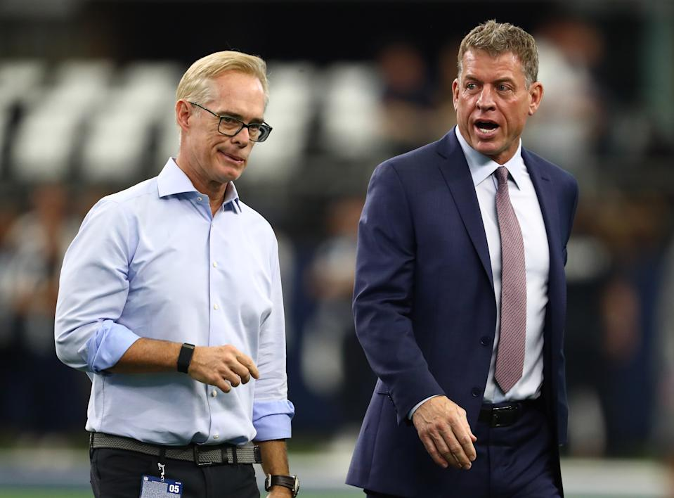 Oct 6, 2019; Arlington, TX, USA; Fox announcers Joe Buck and Troy Aikman on the field prior to the game with the Dallas Cowboys playing against the Green Bay Packers at AT&T Stadium. Mandatory Credit: Matthew Emmons-USA TODAY Sports