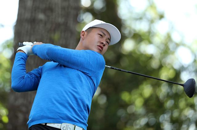 Lin Yuxin of China hits off the second tee during second round play of the 2018 Masters golf tournament at the Augusta National Golf Club in Augusta, Georgia, U.S., April 6, 2018. REUTERS/Lucy Nicholson