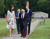 <p><b><b><b>The Duke and Duchess of Cambridge met with survivors Manfred Goldberg and Zigi Shipper during their visit to the former Nazi concentration camp at Stutthof, near Gdansk.<em> [Photo: PA]</em> </b></b></b></p>