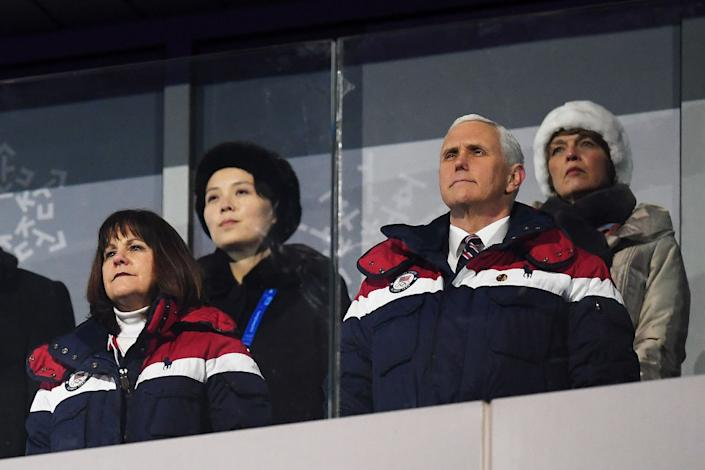 U.S. Vice President Mike Pence and Kim Yo Jong (back left) watch on during the Opening Ceremony of the PyeongChang 2018 Winter Olympic Games in Pyeongchang-gun, South Korea on Feb. 9, 2018. | Matthias Hangst—Getty Images