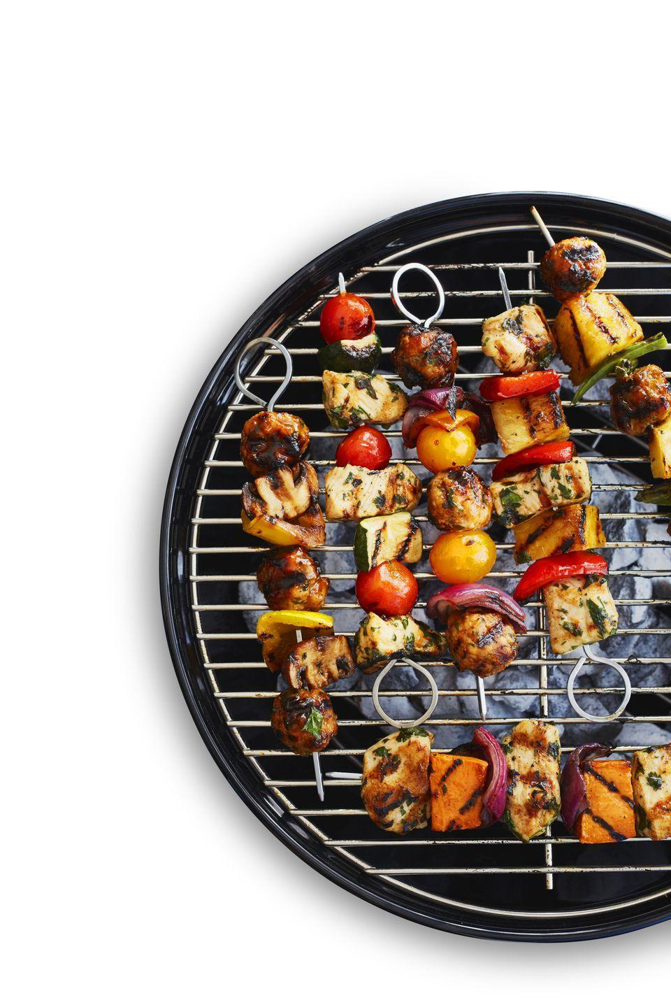 """<p>It's not too late to fire up the grill for these chicken kebabs. And you'll definitely want to since they take less than 30 minutes to cook.</p><p><a href=""""https://www.womansday.com/food-recipes/a32884878/chicken-kebabs-recipe/"""" rel=""""nofollow noopener"""" target=""""_blank"""" data-ylk=""""slk:Get the recipe for Chicken Kebabs."""" class=""""link rapid-noclick-resp""""><strong><em>Get the recipe for Chicken Kebabs. </em></strong></a></p>"""