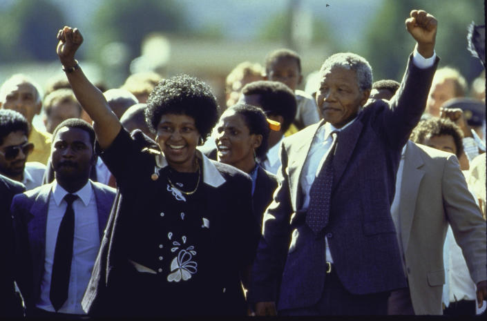<p>ANC leader Nelson Mandela and wife Winnie raising fists upon his release on Feb. 2, 1990, from Victor Verster prison after 27 years. (Photo: Allan Tannenbaum/The Life Images Collection/Getty Images) </p>