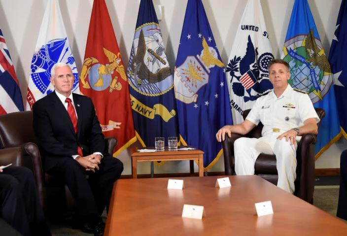 FILE PHOTO: Vice President Mike Pence meets with Admiral Phil Davidson, U.S. Indo-Pacific Commander, at Camp H.M. Smith in Honolulu.