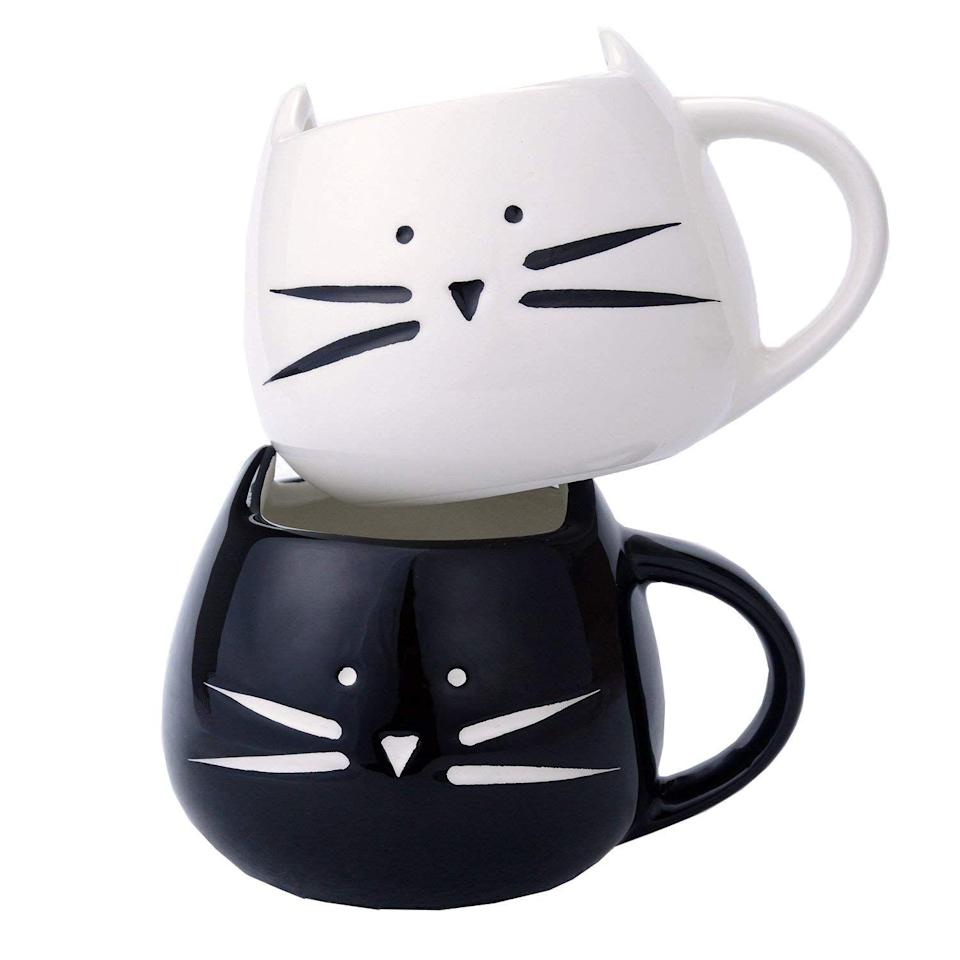 "<p>A two-pack ceramic mug set is perfect for your cat-lover boss. She can leave one at home and one at work and never be without a feline friend.</p> <br> <br> <strong>ilyever</strong> 2 Pack Ilyever Cute Cat Coffee Mugs for Cat Lovers, $16.98, available at <a href=""https://www.amazon.com/Ilyever-Funny-Little-Coffee-Ceramic/dp/B015G7COQO/?creativeASIN=B015G7COQO&linkCode=w61&imprToken=41dQf-DH6085ZRV4IDpSkQ&slotNum=23&=&ascsubtag=[]st[p]cjp1fn8y8008q83ye9ux7wsbu[i]oFruFe[z]m[d]T&tag=thestrategistsite-20"" rel=""nofollow noopener"" target=""_blank"" data-ylk=""slk:Amazon"" class=""link rapid-noclick-resp"">Amazon</a>"