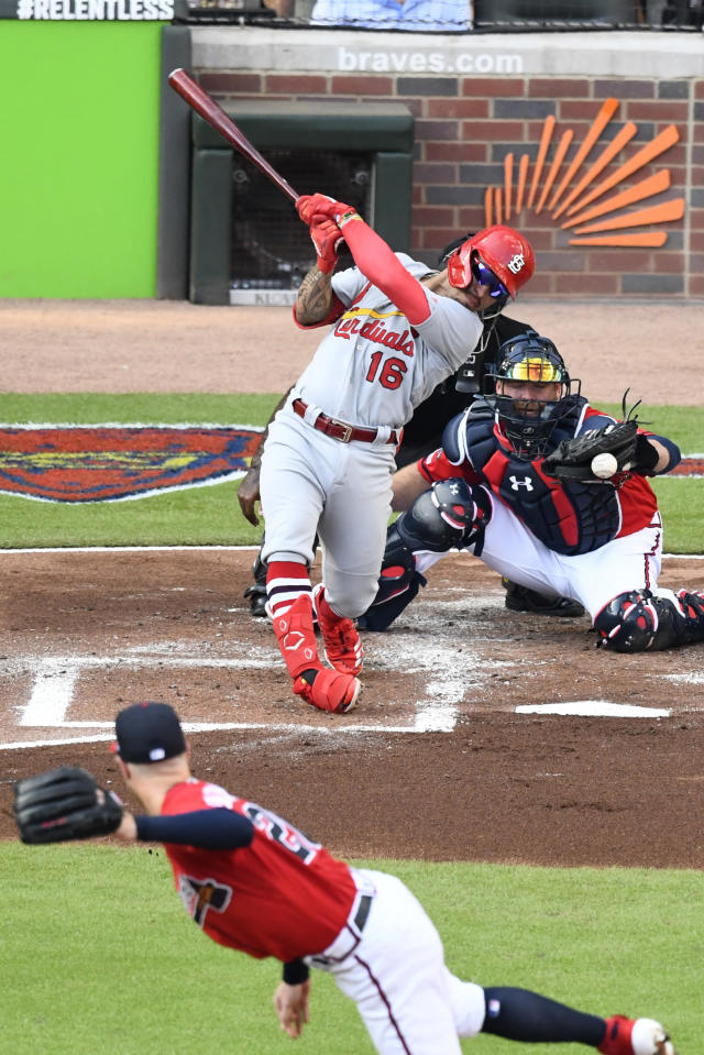 St. Louis Cardinals second baseman Kolten Wong (16) strikes out in the second inning during Game 2 of a best-of-five National League Division Series against the Atlanta Braves, Friday, Oct. 4, 2019, in Atlanta. (AP Photo/Scott Cunningham)