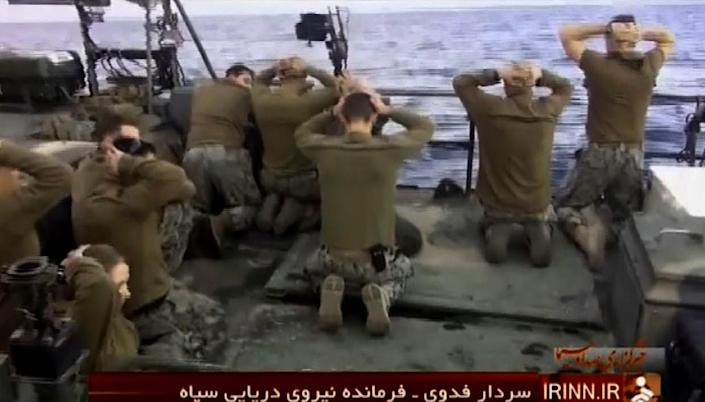 A screen grab from Iran's News Network shows the US sailors being apprehended by Iran's Revolutionary Guards after their patrol boats entered Iranian waters unintentionally (AFP Photo/)