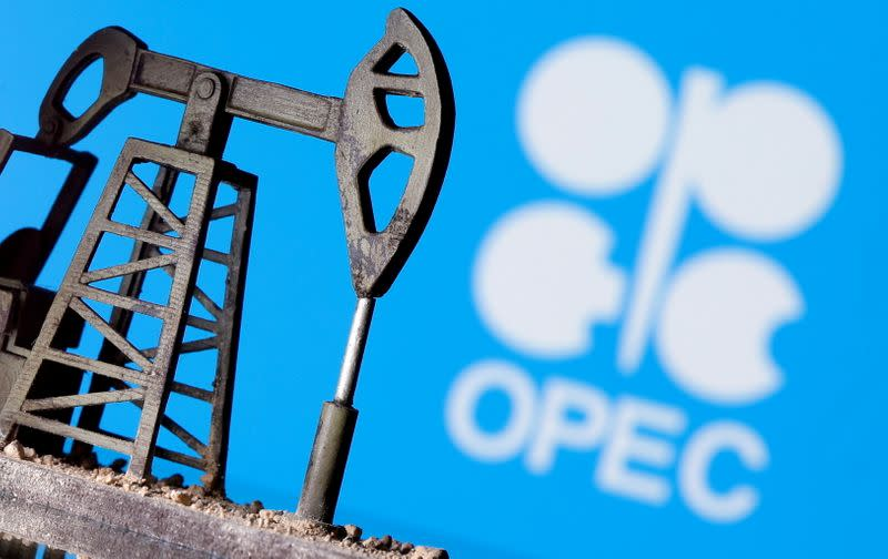 FILE PHOTO: A 3D-printed oil pump jack is seen in front of displayed OPEC logo in this illustration picture