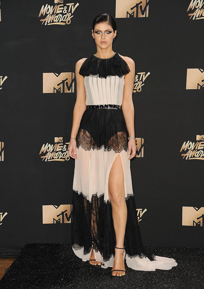 Actress Alexandra Daddario poses in the press room at the 2017 MTV Movie and TV Awards at The Shrine Auditorium on May 7, 2017 in Los Angeles, California.