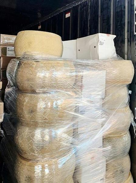 This handout picture released on May 27, 2020 by the Federal Customs Service of Russia shows European-made cheeses seized at the Bronka customs post by Baltic customs in Saint Petersburg