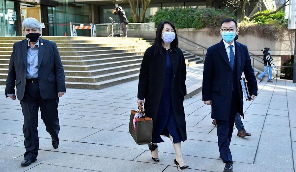 Meng Wanzhou leaves court on a lunch break in Vancouver on Monday. Photo: Reuters