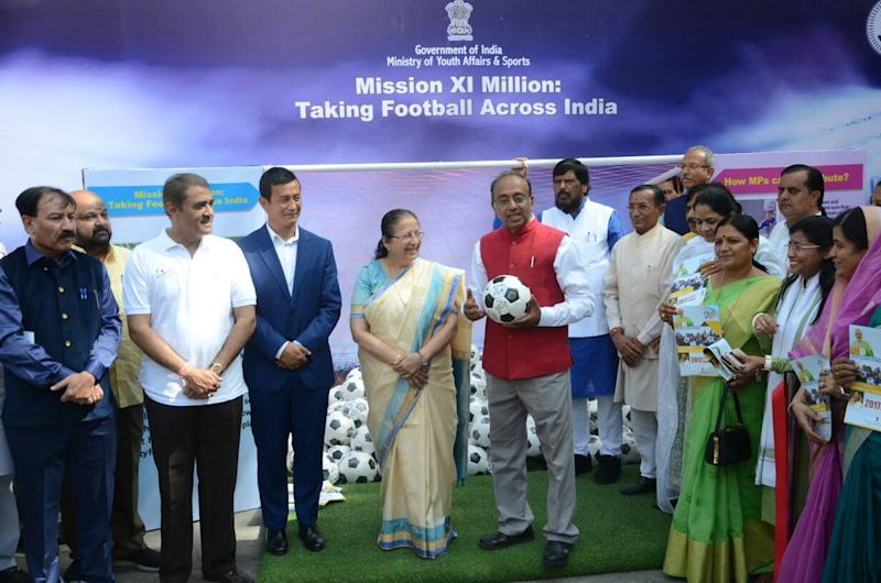 See how Indian MPs are kicking off Mission XI Million initiative to spread football to all parts of the country