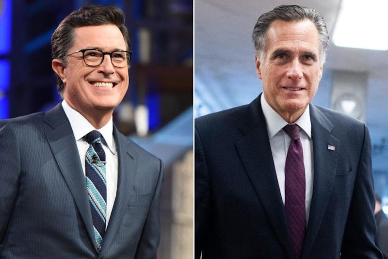 Stephen Colbert (left) and Sen. Mitt Romney | Timothy Kuratek/CBS; Tom Williams/CQ-Roll Call, Inc via Getty