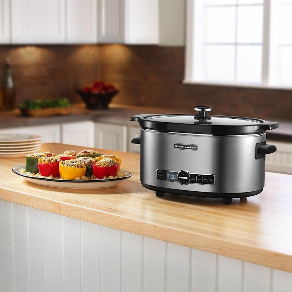 <p>The <span>KitchenAid Six-Quart Slow-Cooker</span> ($90) is a must-have to get dinner prepped and ready ahead of time.</p>