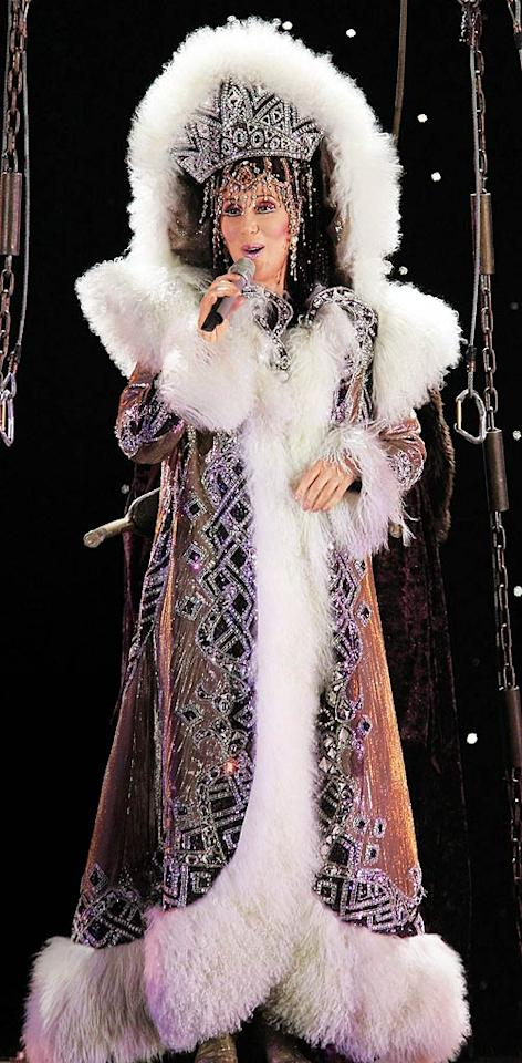 """<b>2005:</b> Bob Mackie made this costume for Cher's """"Farewell"""" tour. """"I wore it in the opening number--U2's 'I Still Haven't Found What I'm Looking For.' That's how I start all my concerts. It sounds a bit over-the-top to say this, but my show is really great. People have a wonderful time. It's a definite party.""""   <a href=""""http://news.instyle.com/2010/11/17/secrets-from-christina-aquileras-burlesque-makeup-artist/?xid=omg-burlesque-makeup?yahoo=yes"""" target=""""new"""">Find Out Secrets From Christina Aquilera's 'Burlesque' Makeup Artist</a> Gene Blevins/Corbis - April 30, 2005"""
