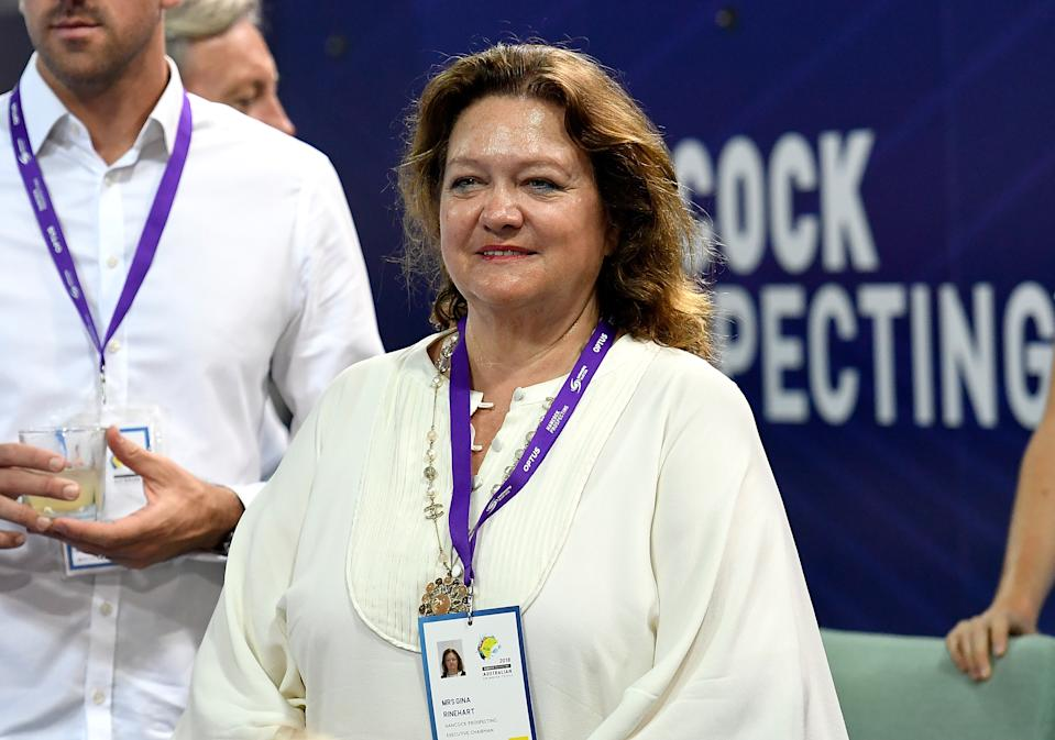 GOLD COAST, AUSTRALIA - MARCH 02: Mining magnate and business women Gina Rinehart is seen watching on during the 2018 Australia Swimming National Trials at the Optus Aquatic Centre on March 2, 2018 in Gold Coast, Australia.  (Photo by Bradley Kanaris/Getty Images)