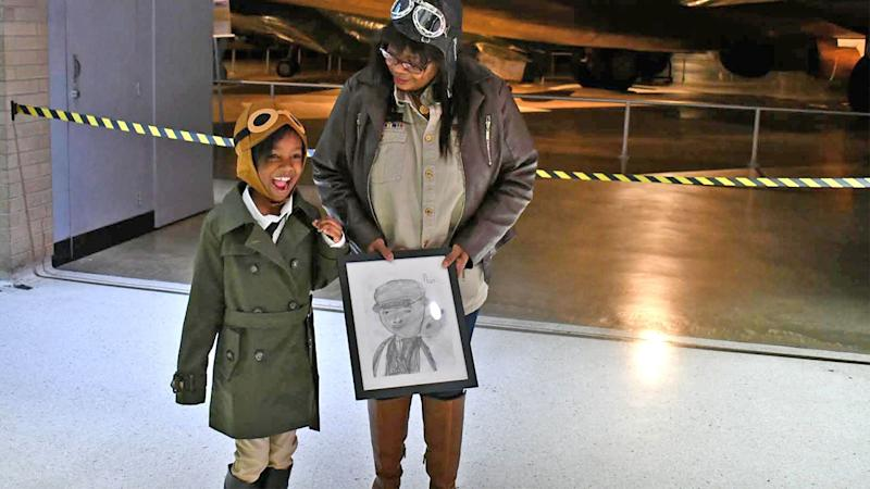 Noa Lewis poses with the great niece of her idol Bessie Coleman at the Air Force Foundation's Living History event. (Credit: Moniqua Lewis)
