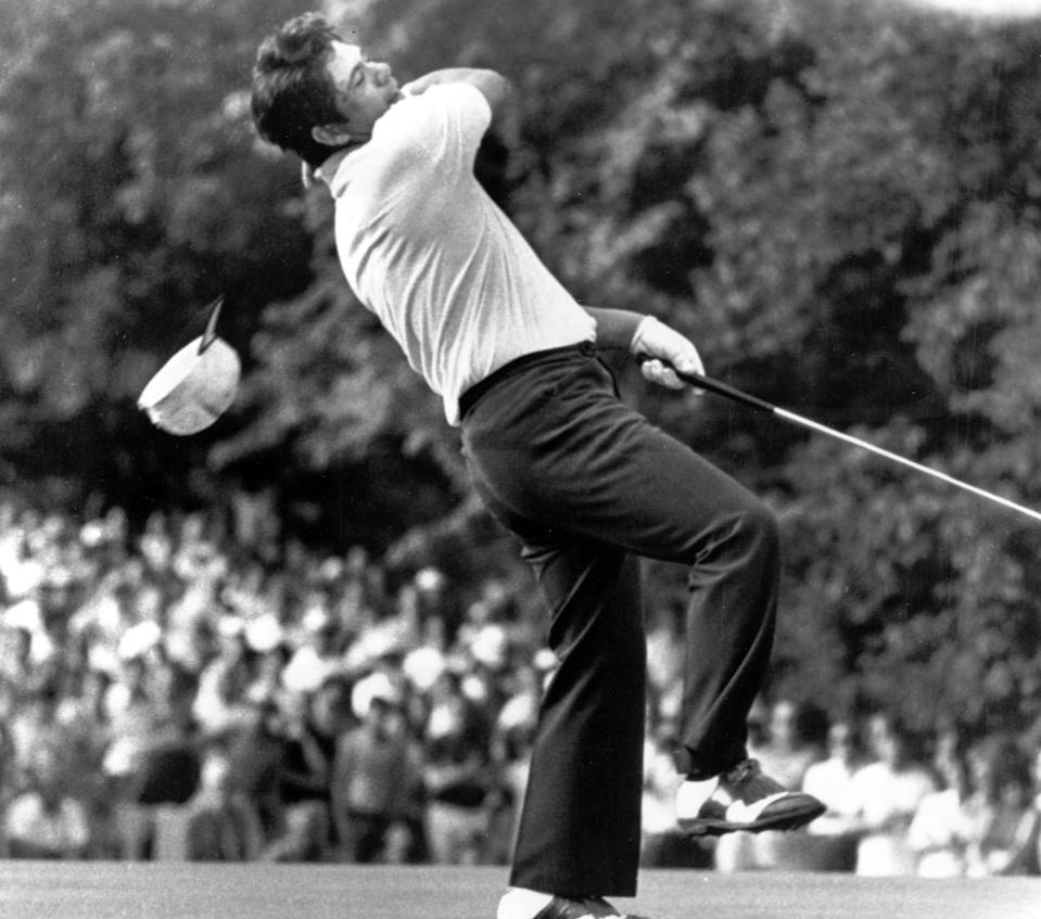 FILE - In this June 21, 1971, file photo, Lee Trevino spins around and drops his cap in a dance of victory after he won the U.S. Open title by defeating Jack Nicklaus at Merion Golf Club in Ardmore, Pa. It is the 50-year anniversary of Trevino's U.S. Open title. (AP Photo/File)