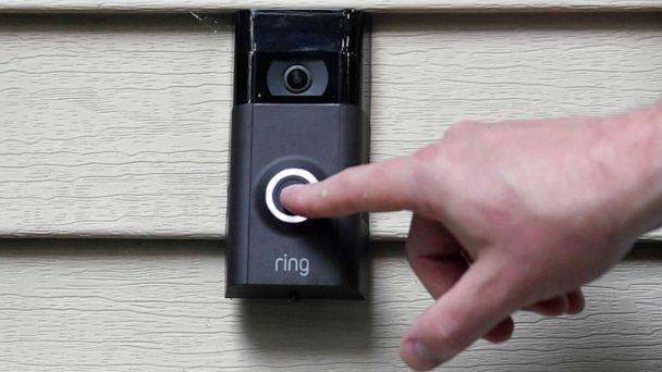 PHOTO: In this July 16, 2019, file photo, Ernie Field pushes the doorbell on his Ring doorbell camera at his home in Wolcott, Conn. (Jessica Hill/AP, FILE)