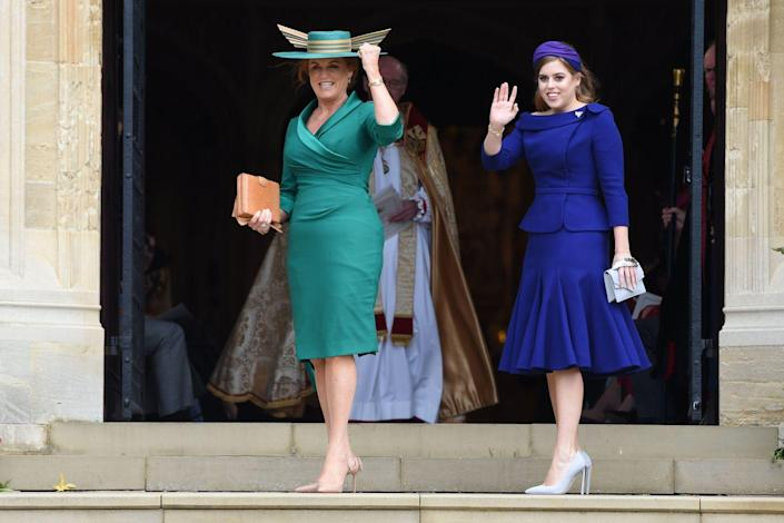"""<p>For <a href=""""https://www.townandcountrymag.com/society/tradition/a15841755/princess-eugenie-jack-brooksbank-wedding/"""" rel=""""nofollow noopener"""" target=""""_blank"""" data-ylk=""""slk:Princess Eugenie's wedding"""" class=""""link rapid-noclick-resp"""">Princess Eugenie's wedding</a>, her mother, Sarah, Duchess of York, and sister, Princess Beatrice, both went the monochrome route in lush jewel-toned dresses and hats.</p>"""