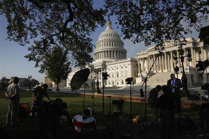 Television news crews set up outside the U.S. Capitol in Washington