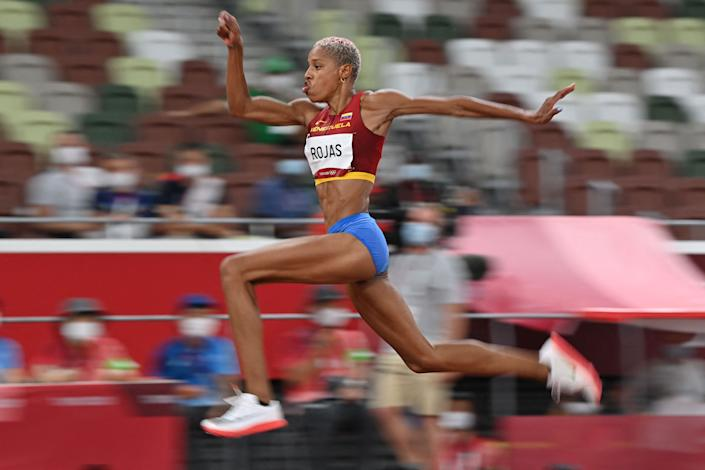 Venezuela's Yulimar Rojas competes in the women's triple jump final at the 2020 Tokyo Olympics.