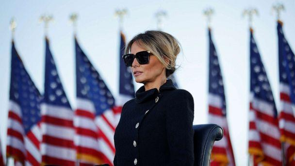 PHOTO: First lady Melania Trump watches as U.S. President Donald Trump speaks at the Joint Base Andrews, Maryland, Jan. 20, 2021. (Carlos Barria/Reuters)