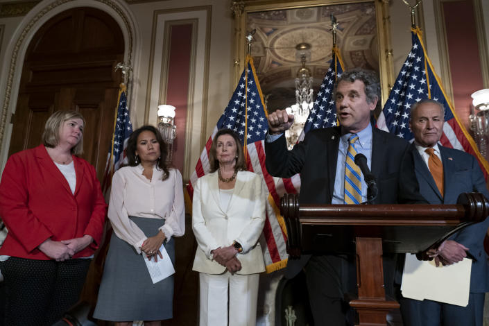From left, Dayton, Ohio Mayor Nan Whaley whose city suffered a mass shooting Aug. 4, 2019, Rep. Veronica Escobar, D-Texas, whose district contains El Paso, Texas, where a gunman killed 22 people at a Walmart, Speaker of the House Nancy Pelosi, D-Calif., Sen. Sherrod Brown, D-Ohio, and Senate Minority Leader Chuck Schumer, D-N.Y., call for a Senate vote on the House-passed Bipartisan Background Checks Act as Congress returns for the fall session with pressure mounting on Senate Majority Leader Mitch McConnell to address gun violence, at the Capitol in Washington, Monday, Sept. 9, 2019. (AP Photo/J. Scott Applewhite)