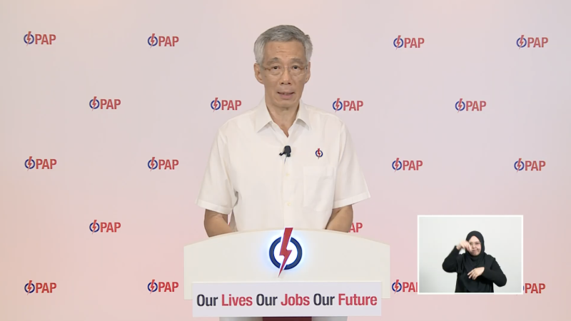 Prime Minister Lee Hsien Loong addresses Singaporeans in a lunchtime online rally on Monday, 6 July 2020, ahead of the country's general election on 10 July. SCREENSHOT: PAP YouTube channel