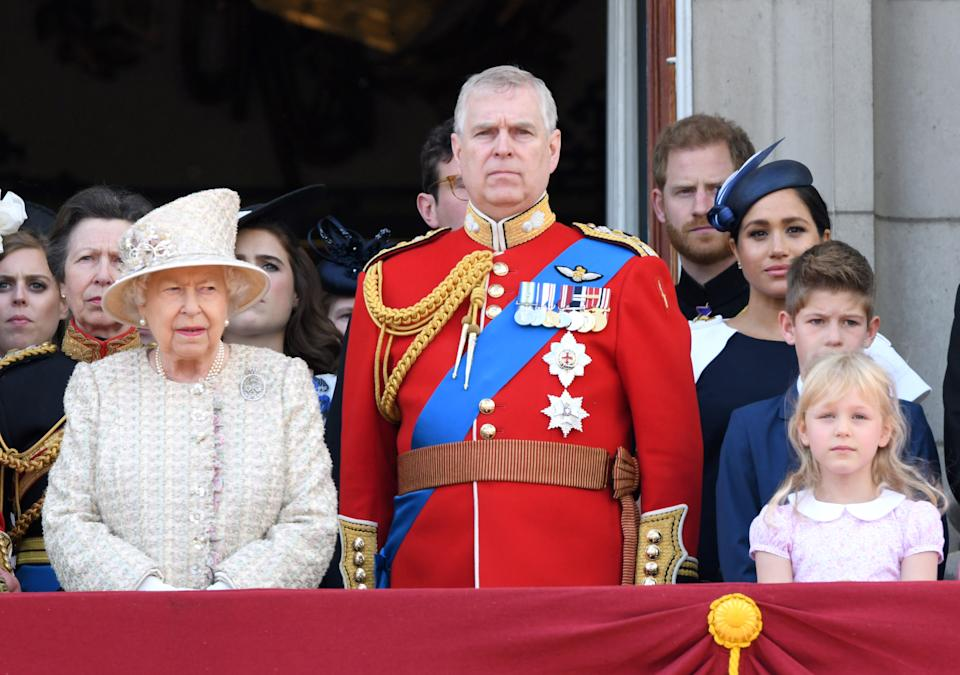 LONDON, ENGLAND - JUNE 08: Queen Elizabeth II, Prince Andrew, Duke of York, Prince Harry, Duke of Sussex and Meghan, Duchess of Sussex on the balcony during Trooping The Colour, the Queen's annual birthday parade, on June 08, 2019 in London, England. (Photo by Karwai Tang/WireImage)