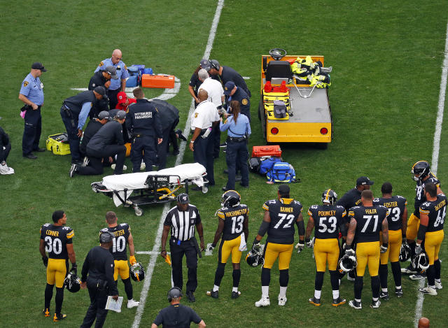The distressing scenes eventually saw a medical cart summoned for him. (Photo by Justin K. Aller/Getty Images)