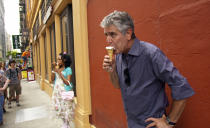 """This image released by Focus Features shows Anthony Bourdain in Morgan Neville's documentary """"Roadrunner."""" The film will have its world premiere at the Tribeca Film Festival on Friday, June 11, 2021. (Focus Features via AP)"""