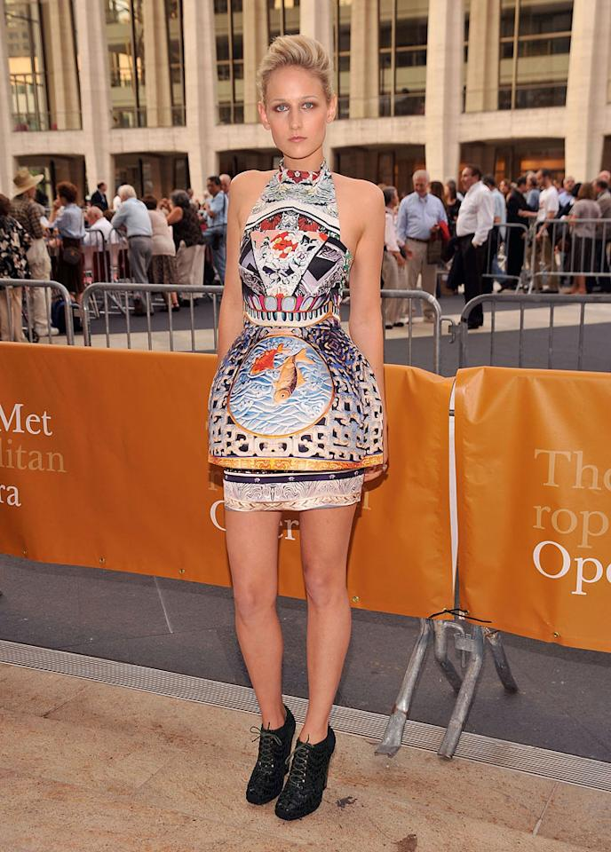 """Speaking of disastrous dresses, check out the fish-adorned frock (and hideous granny heels) Leelee Sobieski wore to the opening night performance of """"Anna Bolena"""" at New York's Metropolitan Opera House. Gary Gershoff/<a href=""""http://www.wireimage.com"""" target=""""new"""">WireImage.com</a> - September 26, 2011"""