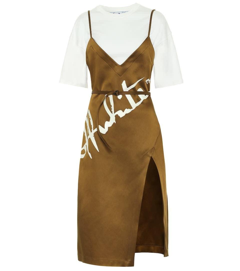 """<p><a class=""""link rapid-noclick-resp"""" href=""""https://go.redirectingat.com?id=127X1599956&url=https%3A%2F%2Fwww.mytheresa.com%2Fen-gb%2Foff-white-logo-satin-and-cotton-midi-dress-1626318.html%3Fcatref%3Dcategory&sref=https%3A%2F%2Fwww.harpersbazaar.com%2Fuk%2Ffashion%2Fg34324281%2Fslip-dress%2F"""" rel=""""nofollow noopener"""" target=""""_blank"""" data-ylk=""""slk:SHOP NOW"""">SHOP NOW</a></p><p>Love the layered look but can't fathom the faff of tucking and styling? Virgil Abloh has done the hard work for you here, underpinning this chocolate satin slip with a simple white T-shirt and cinching it all with a slender waist belt. The splash of white graphics across the front tell you instantly that it's Off-White.</p><p>Logo satin and cotton midi dress, £785, Off-White</p>"""
