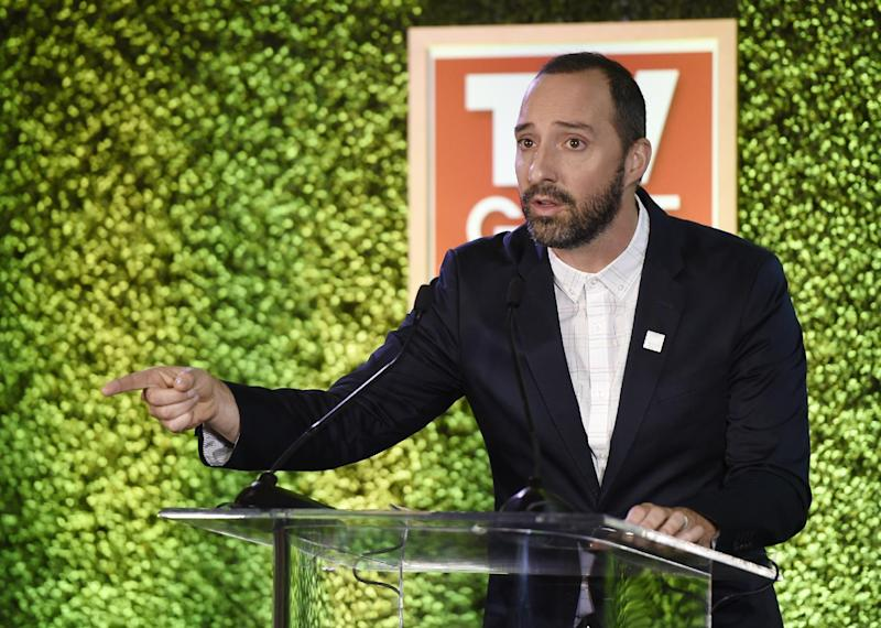 Honoree Tony Hale addresses the audience at the 2016 Television Industry Advocacy Awards at the Sunset Tower Hotel on Friday, Sept. 16, 2016, in West Hollywood, Calif. (Photo by Chris Pizzello/Invision/AP)
