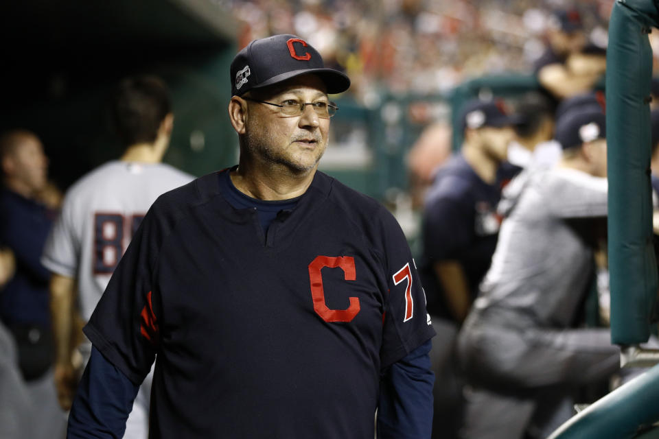 Cleveland Indians manager Terry Francona walks in the dugout in the ninth inning of a baseball game against the Washington Nationals, Friday, Sept. 27, 2019, in Washington. (AP Photo/Patrick Semansky)