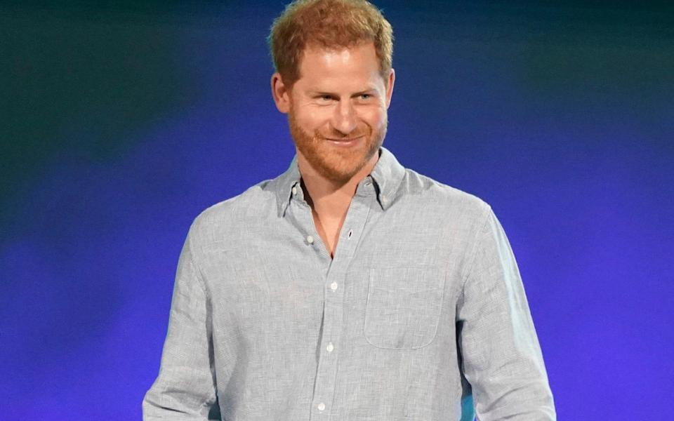 The Duke of Sussex speaks at 'Vax Live' in Inglewood, California, in early May. Prince Harry compared his life as part of the Royal family to being on 'The Truman Show' - Jordan Strauss/AP