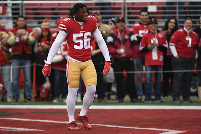 Reuben Foster was cut from the 49ers this past weekend after he was arrested and charged with domestic violence. The Redskins claimed him days later. (Getty Images)