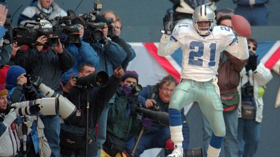 Mandatory Credit: Photo by Eric Gay/AP/Shutterstock (6512289a)SANDERS Dallas Cowboys' Deion Sanders dancing in the endzone following his second quarter touchdown against the Philadelphia Eagles, in the NFC Divisional playoffs, in Irving, Texas.