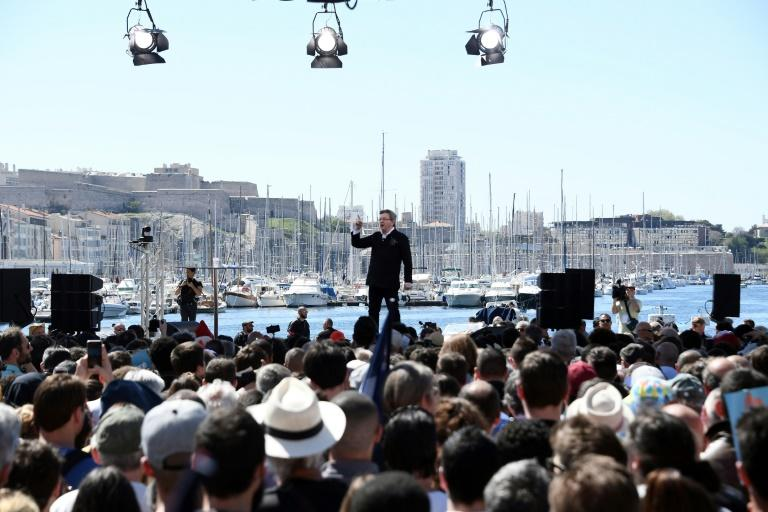 French presidential election candidate for the far-left coalition La France insoumise Jean-Luc Melenchon delivers a speech during a public meeting at the Old Port of Marseille, southern France, on April 9, 2017
