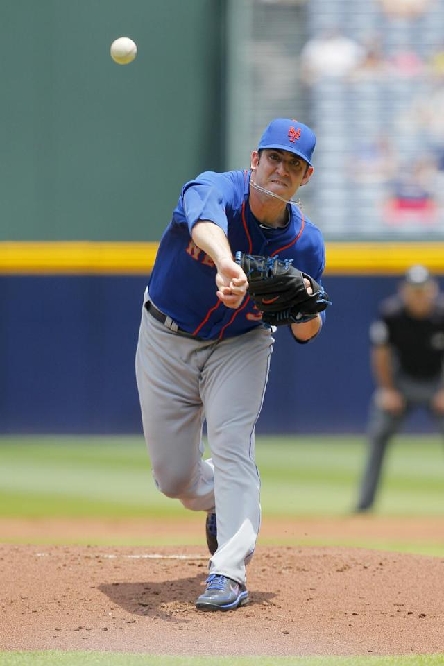 New York Mets starting pitcher Matt Harvey pitches in the first inning of the first baseball game of a doubleheader against the Atlanta Braves Tuesday, June 18, 2013, in Atlanta. (AP Photo/Todd Kirkland)