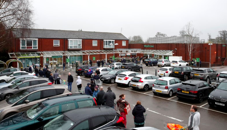 Waitrose customers were at the store first thing in the morning to stock up. (Reuters)