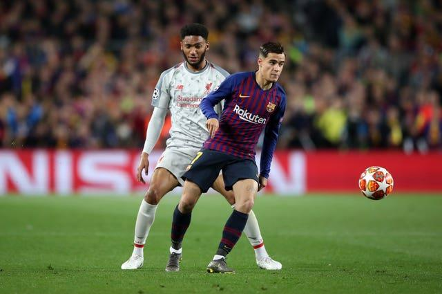 Philippe Coutinho (right) joined Barcelona from Liverpool in 2018