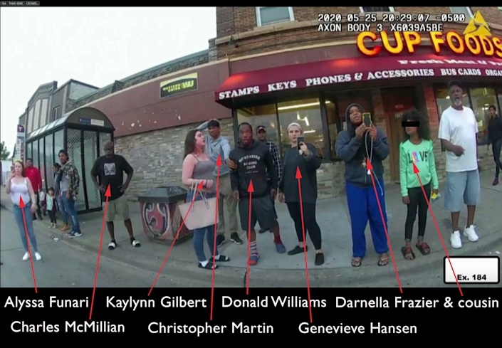 The bystanders who have testified at the murder trial of Derek Chauvin. (Video grab of evidence: Court TV via Reuters Video, annotated and adjusted to protect a minor by Yahoo News.)