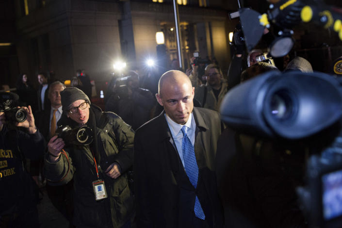 FILE - In this March 25, 2019, file photo, attorney Michael Avenatti leaves Federal Court after his initial appearance in an extortion case in New York. Avenatti, the trash-talking lawyer who became a household name by representing a porn star and hounding Donald Trump, is now in the legal fight of his life against federal charges that could send him to prison for the rest of his life. (AP Photo/Kevin Hagen, File)